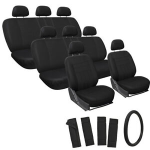 25pc Full Set Solid Seat Cover For Suvs W steering Wheel Belt Pads Head Rests