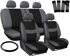 Truck Seat Covers For Dodge Ram Gray Black W Steering Wheel Belt Pad Head Rests