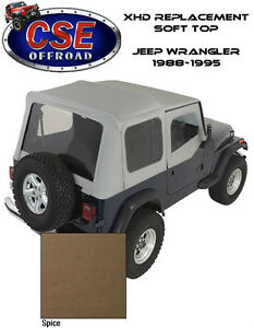 Xhd Spice Replacement Soft Top With Door Skins For Jeep Wrangler Yj 1988 1995