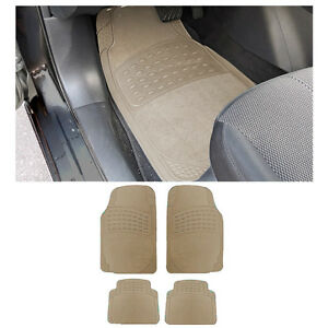 4 Pc Xs Sedan Beige Tan Front Rear Aw Semi Carpet Rubber Floor Mats Set