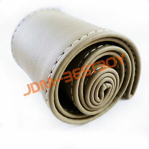 Leather Steering Wheel Cover With Needles Thread Diy Beige Size M Usa