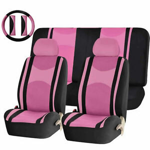 Pink Black Poly Mesh Airbag Ready Split Bench Seat Covers Combo For Cars 1343