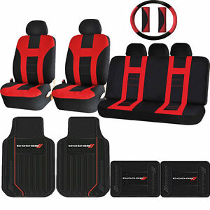 Red Black Double Stitch Seat Covers Elite Rubber Floor Mats Set For Dodge