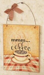 Country Wood Wall Hanging Plaque Sign Mmm Coffee Nice