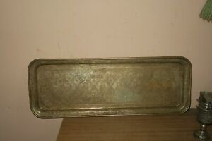 Rare Vintage Persian Hand Chased Copper Tray Head Of 8 Kings 8 5 X 23