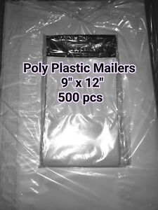 New 500 Bags 3 9 x12 Poly Self Sealed Plastic Mailers Mailing Bags Envelopes