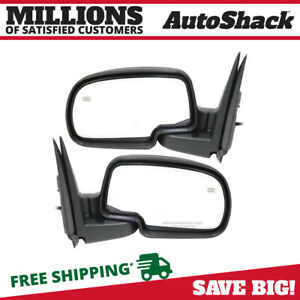 Pair Heated Power Black Textured Side Mirrors For 03 07 Gmc Chevy Cadillac Truck