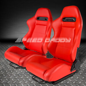 2 X Type R Fully Reclinable Pvc Leather Racing Seat Seats Slider Red Stitches