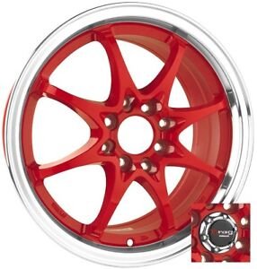 15 4x100 Drag Dr9 Red Wheels Rims For Honda Civic Accord Crx