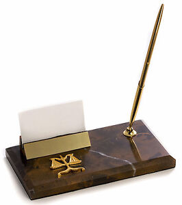 Desk Accessories Scales Of Justice Marble Pen Stand Business Card Holder