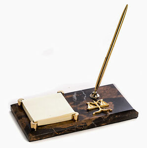 Desk Accessories scales Of Justice Marble Pen Stand Memo Holder Lawyer