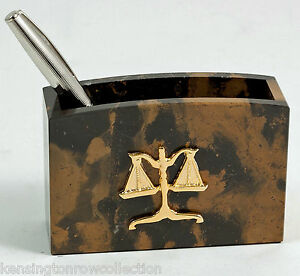 Desk Accessories Scales Of Justice Marble Pen Pencil Holder Legal