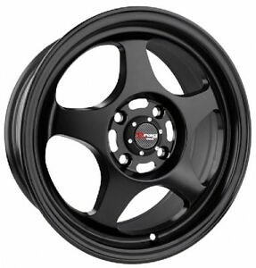 15 4x100 Drag Dr23 Black Wheels Rims For Honda Civic Prelude Del Sol
