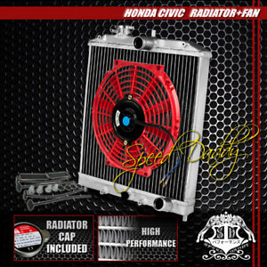 2row Full Aluminum Racing Radiator 10 red Fan 92 00 Civic Ej ek eg integra Db Dc