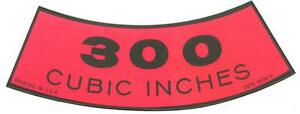 1968 69 70 71 72 Ford Truck 300 Cid Air Cleaner Decal