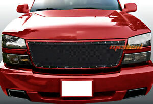 Fit 06 Chevy Silverado 1500 05 06 2500 Upper 1 Pc Stainless Black Mesh Grille