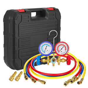 R410a 2 valve Refrigerant Manifold Gauges 60 Hoses A c Air Hvac Halogen Freon