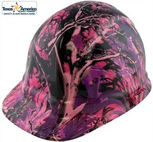 Hydro Dipped Cap Style Hard Hat With Ratchet Suspension Muddy Girl Pink Camo