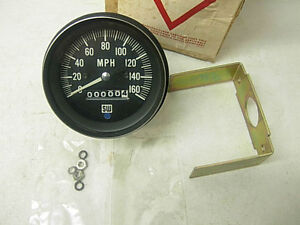 Nos Vintage Stewart Warner 160 Mph Mechanical Speedometer Rare Bluelight Sw Tach