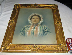 Antique Victorian Lady Photo Oil Painting Wood Folk Art Picture Wall Gold Frame