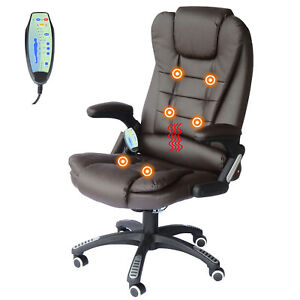 Heated Vibrating Massage Chair Executive Ergonomic Computer Desk Office Brown