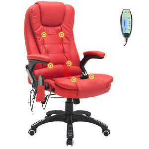 Executive Ergonomic Massage Chair Heated Vibrating Computer Desk Office Red