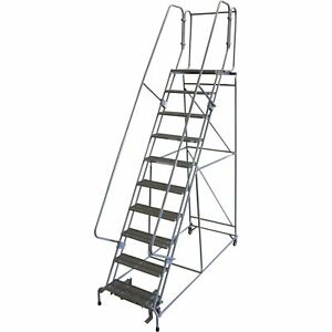 Rolling Steel Ladder 450lb Cap 10 step Ladder 100h