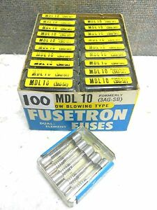 Box Of 100 Cooper Bussmann Buss Fusetron Fuses Mdl 10 New Mdl10