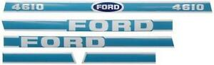 New Ford Tractor 4610 Hood Decal Set With Light Blue White Decals