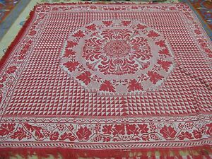 Antique Red White Jacquard Coverlet American 78 X 80 Americana Textile