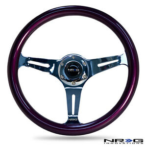 Nrg 350mm Deep Dish Steering Wheel Purple Wood Chrome 3 spoke Rivet Horn