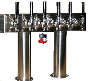 Stainless Steel Draft Beer Tower Made In Usa 6 Faucets Air Cooled pt6ss
