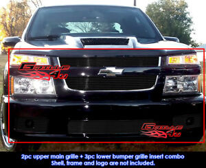 Fits Chevy Colorado Xtreme Black Billet Grill Combo 2004 2010