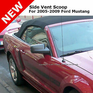 For 05 09 Mustang Gt Pair Stick On Air Vent Side Fender Scoop Primer Unpainted