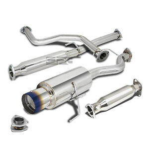 Fit 96 00 Civic 3dr Ej6 Hb 4 5 burnt Tip Muffler Cat back straight Exhaust Pipe