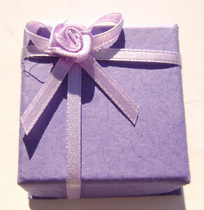 1502pk Gift Box Ring Studs Paper Lavender Purple With Ribbon Bow 1 Qty