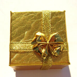2199pk Gift Box Ring Studs Paper Gold With Ribbon Bow 1 Qty