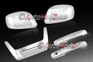 Fit 05 15 Nissan Frontier Chrome 2 Door Handle Low Tailgate Mirror Covers Combo