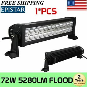 13 Inch 6000k Off Road 72w Cree Led Fog Lamp Work Light Bar Suv Jeep 4x4 Drl