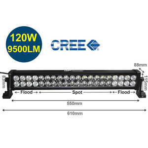 22 Inch 6000k Off Road 120w Cree Led Fog Lamp Work Light Bar Suv Jeep 4x4 Drl