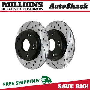 Rear Drilled Slotted Disc Brake Rotors Pair 2 For Honda Civic Acura Csx Ilx 2 4l