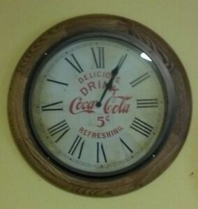 OAK ROUND COCA-COLA CLOCK