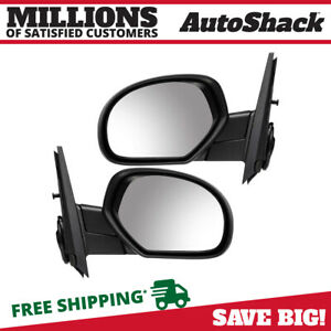 Pair 2 Power Heated Black Side Mirror Fits 2007 2013 Chevrolet Silverado 1500