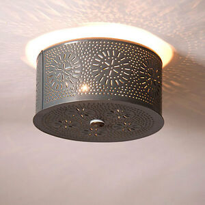 Country New Round Gray Punched Tin Ceiling Light