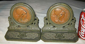 Antique Art Nouveau Victorian Lady Bust Hat Art Statue Deco Sculpture Bookends