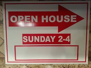 Lot Of 5 Red And White Open House Signs Sunday 2 4pm Bulk 18 X 24 Corrugated