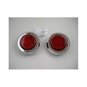 2 Red 2 Round 9 Led Custom Mini Stop Turn Brake Tail Lights Chrome Bezel