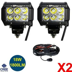 Pair 4 Inch Off Road 18w Cree Led Fog Lamp Work Light Bar Suv Jeep 4wd Drl Relay