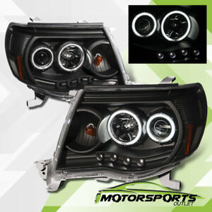 Ccfl Halo Led Drl For 2005 2011 Toyota Tacoma Led Projector Black Headlights