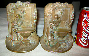 Antique Bronze Art Nouveau Lady Urn Fountain Garden Statue Sculpture Bookends